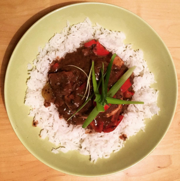 Chicken breast in asian black bean sauce with basmati rice